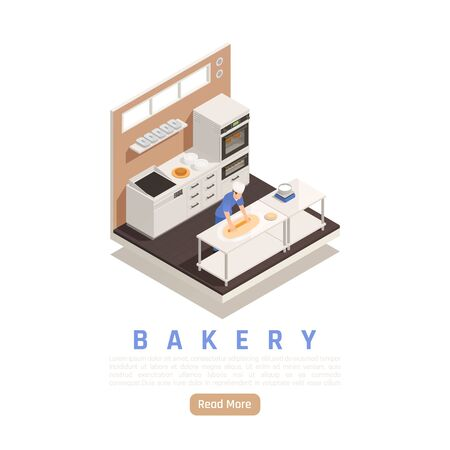 Bakery confectionery kitchen facility isometric view with adding filling before setting pie in industrial oven vector illustration
