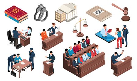 Crime justice law isometric set with criminal investigation court defendant handcuff attorney jury prosecutor mallet vector illustration
