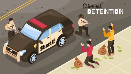 Isometric sheriff composition with outdoor scenery and two policemen marshals during raid on criminals with money vector illustration Ilustrace