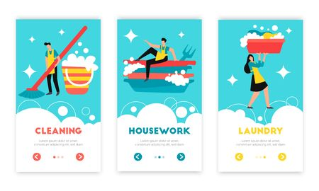 Cleaning housekeeping work laundry washing dishes sanitary hygiene maintain 3 web flat vertical banners isolated vector illustration   向量圖像
