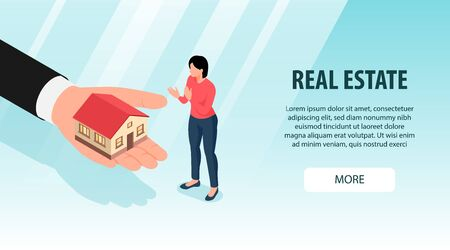 Isometric real estate background with more button text and female character with human hand and house vector illustration