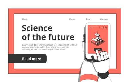 Science technology future isometric landing page with humanoid robot hands holding smartphone for remote controlling vector illustration