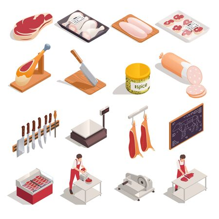 Butcher at work products tools accessories isometric set with knives sausage steak chicken drumsticks hanging meat vector illustration