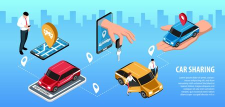 Isometric car sharing horizontal infographics with editable text cityscape silhouette background and cars with location signs vector illustration