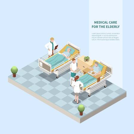 Medical care for elderly isometric background with doctor doing medical checkup and treatment in nursing home vector illustration