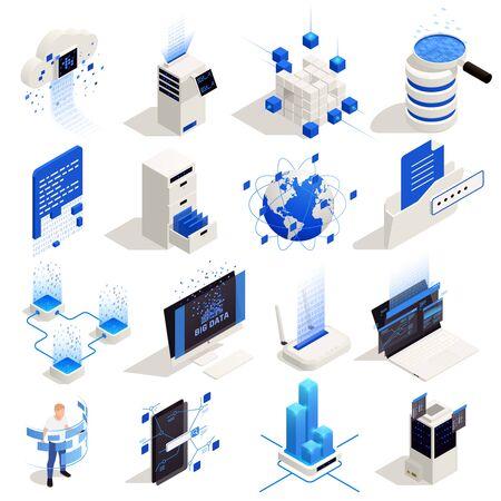 Big data storage exchange interactive world wide availability analysis processing symbols isometric icons set isolated vector illustration   Illustration