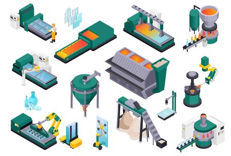 Glass production isometric composition with isolated images of glassworks industrial facilities and machinery on blank background vector illustration