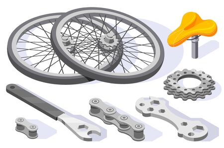 Bicycle repair maintenance tools spare parts accessories isometric set with wheels wrench saddle cogs isolated vector illustration