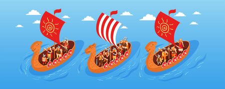 Isometric viking narrow composition with open sea landscape clouds in sky and three floating ancient boats vector illustration 向量圖像