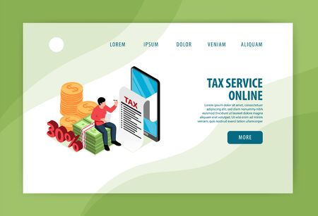Tax service online concept isometric landing page banner with sitting on banknotes taxpayer filling application  vector illustration      Ilustracja