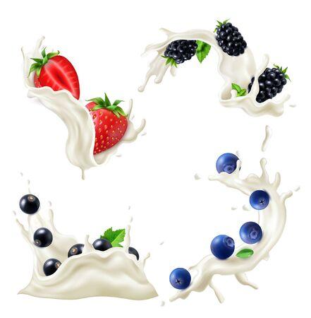 Milk yogurt splash realistic set with berries isolated vector illustration