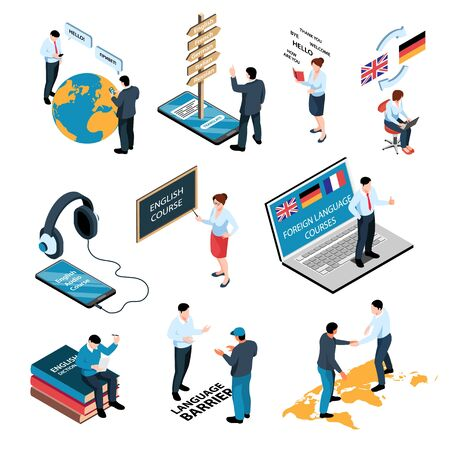 Isometric learning language training center set with isolated compositions of people books and gadgets with text vector illustration