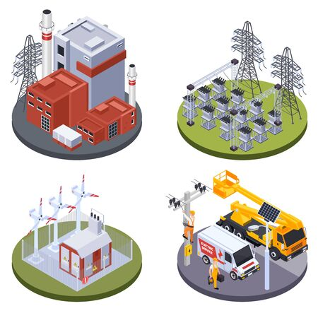 Electricity production plant and alternative sources of energy 2x2 isometric design concept 3d isolated vector illustration