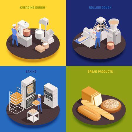Concept de production de confiserie de boulangerie 4 compositions isométriques avec pétrissage de machines à rouler la pâte fours cuisson du pain illustration vectorielle