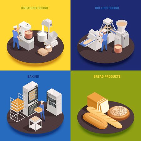Bakery confectionery production concept 4 isometric compositions with kneading rolling dough machinery ovens baking bread vector illustration  Illustration