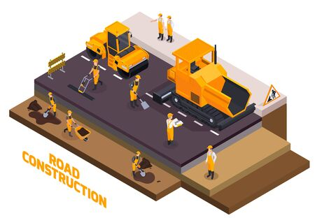 Isolated isometric road construction icon set with workers build roads and fill the asphalt vector illustration