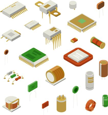 Semiconductor element set with production symbols isometric isolated vector illustration Ilustração