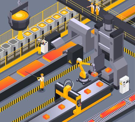 Isometric background with steel foundry workers and metalworking process 3d vector illustration