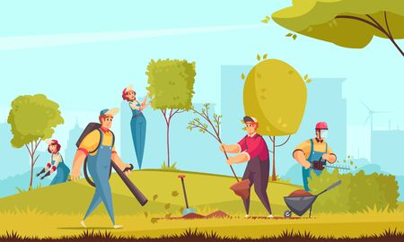 Professional gardener working background with trees and bushes flat vector illustration