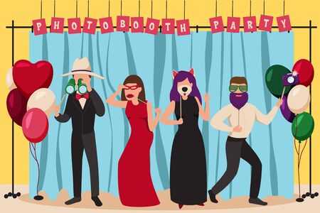 Photo booth party composition with carnival symbols flat vector illustration