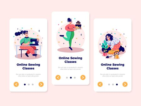 Hobbies handcraft sewing patterns making cooking and gardening online classes 3 flat vertical web banners vector illustration
