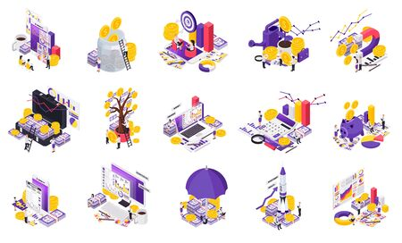 Isometric wealth management icon set with different tools for accumulation of funds vector illustration