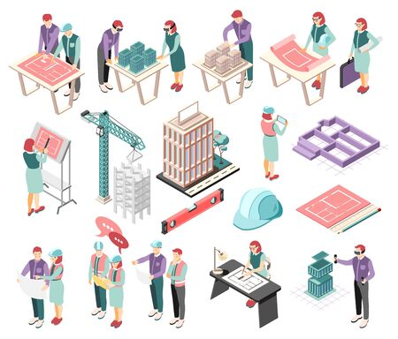 Architects engineers isometric icons collection with buildings complex planning sketching blue print construction site supervision vector illustration