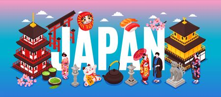 Isometric japan travel text composition with gradient background and japanese traditional buildings culture elements and people vector illustration