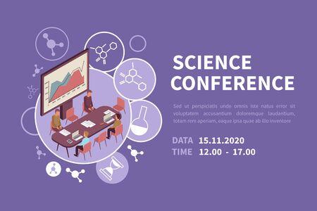 People at scientific conference isometric banner 3d vector illustration Ilustração Vetorial