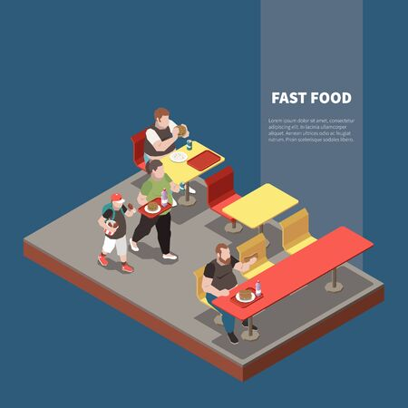 Gluttony isometric concept with fat people at fast food restaurant 3d vector illustration Illustration
