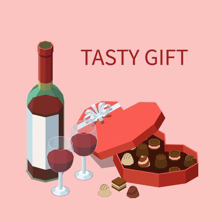 Fond isomère de cadeau savoureux avec une bouteille de vigne rouge deux verres remplis de vin et une boîte ouverte de chocolats vector illustration Vecteurs