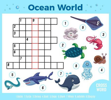 Sea animal funny crossword composition with colourful images of fishes and reservoir inhabitants with digits vector illustration