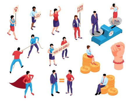 Isometric womens rights feminism gender equality set of isolated human characters with fist and coin piles vector illustration 일러스트