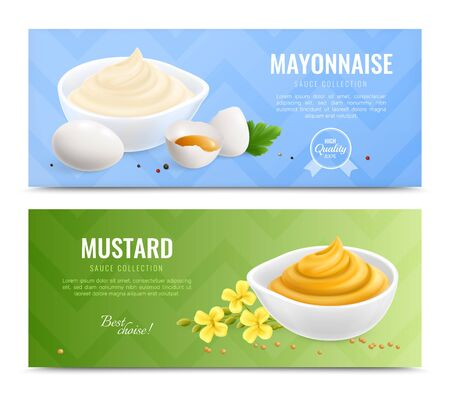 Two horizontal mustard realistic banner set with mayonnaise and mustard sauce collection descriptions vector illustration Illusztráció
