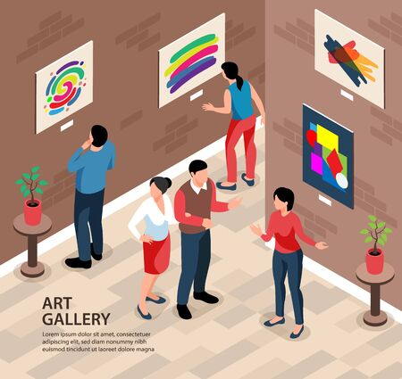 Isometric exhibition gallery background square composition with editable text and indoor scenery with people and paintings vector illustration