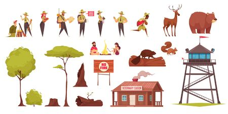 Set of colored cartoon icons with forest rangers wild animals trees sign veterinary station isolated on white background vector illustration Vetores