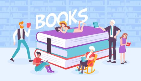 Book people composition with flat human characters surrounding pile of books with bookcase background and text vector illustration