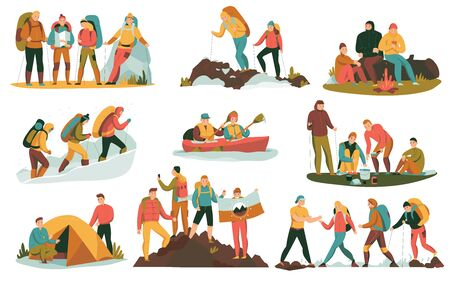 Mountain climbing trekking hiking flat compositions set with overnight halt camping tent bonfire cooking boating vector illustration