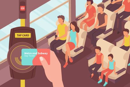Fare payment isometric composition with view of passenger car with people and transport card ticket validate