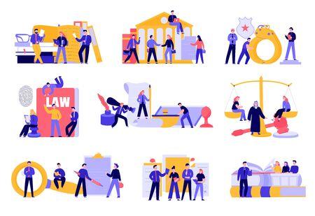 Gesetzliche Gerechtigkeit flach mit Zivilgesetzbuch Bücher Kriminalität Untersuchung Gerichtsgebäude Richter Trial Balance Inhaftierung Vektor-Illustration