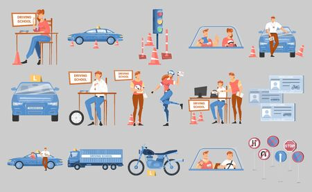 Driving school flat icons set with vehicles road safety signs license and human characters isolated on grey background vector illustration