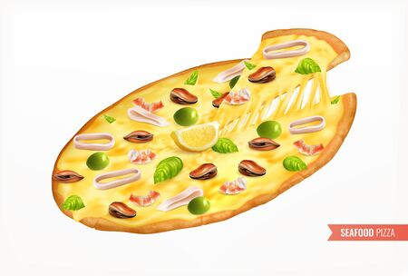 Whole seafood pizza with squid shrimp mussels lemon and olives realistic background vector illustration