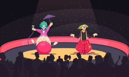 Cartoon background with two clowns wearing funny costumes performing at circus vector illustration