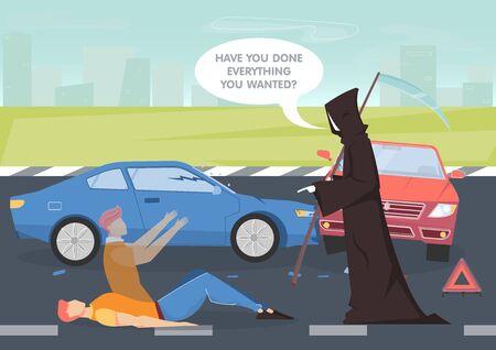 Car crash  with death and life symbols flat Ilustracja