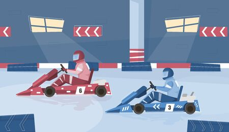 Karting racing background with race track and equipment flat vector illustration