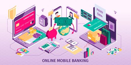 Online mobile banking concept with payment symbols isometric Stock Illustratie
