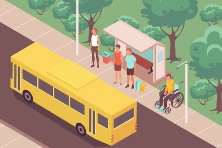 Bus-stop people isometric composition with outdoor landscape and yellow bus near stop with waiting people vector illustration
