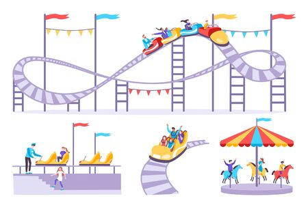 Roller coaster set of flat icons with amusement rides isolated images and people on blank background vector illustration Vektorové ilustrace