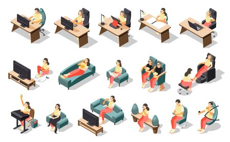 Sedentary lifestyle isometric recolor icon set with girl doing different activities in a sitting position vector illustration