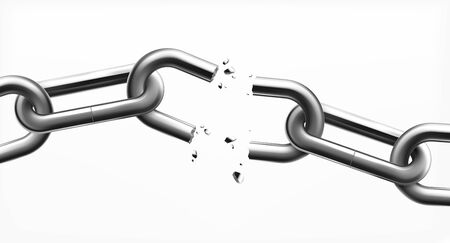 Freedom monochrome design concept with broken steel chain links on white background realistic vector illustration